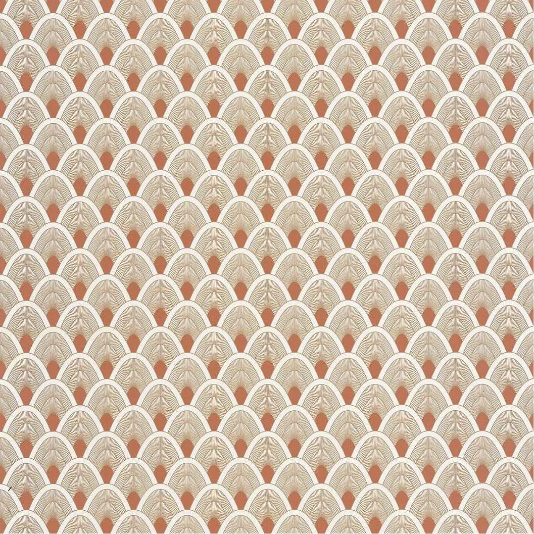 Narancs krémfehér art deco hangulatú vlies design tapéta