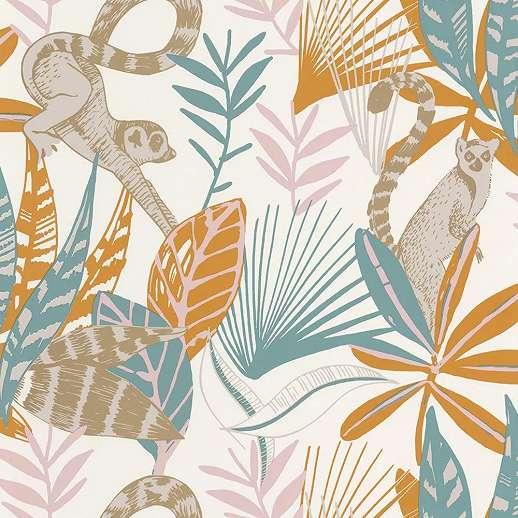 Narancs türkiz lemur és pálmalevél mintás design vlies tapéta