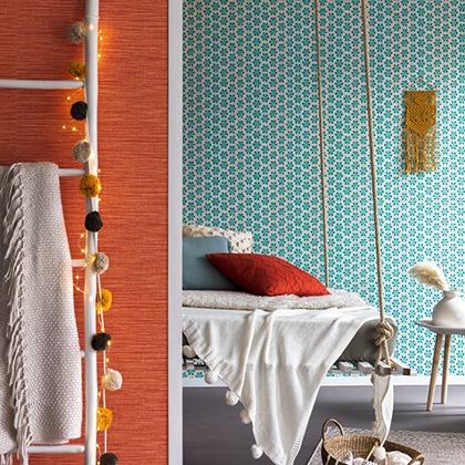 Narancssárga színű szövet hatású tapéta