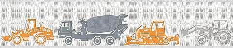 Narancssárga szürke traktor mintás bordűr gyerekszobába