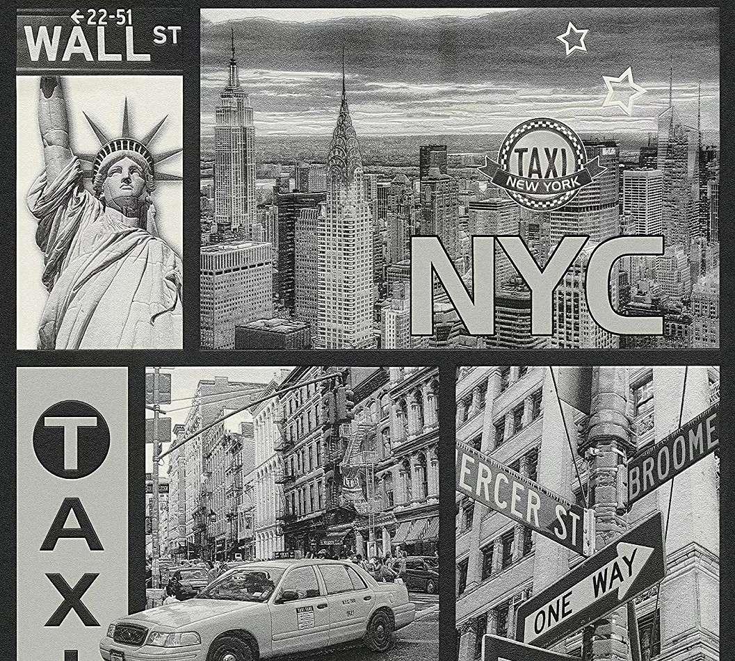 New York City gyerektapéta fekete fehér színvilágban
