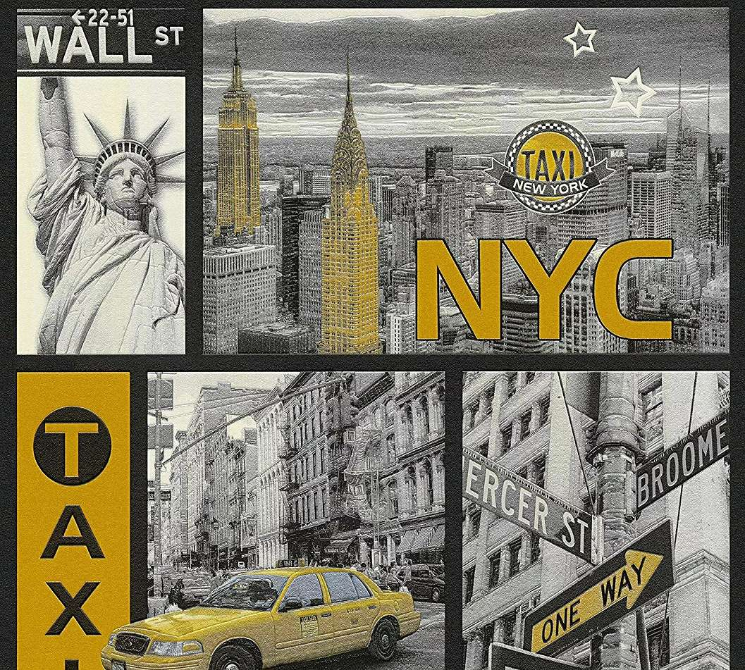 New York City mintás gyerek tapéta ezüst, fekete sárga színekkel