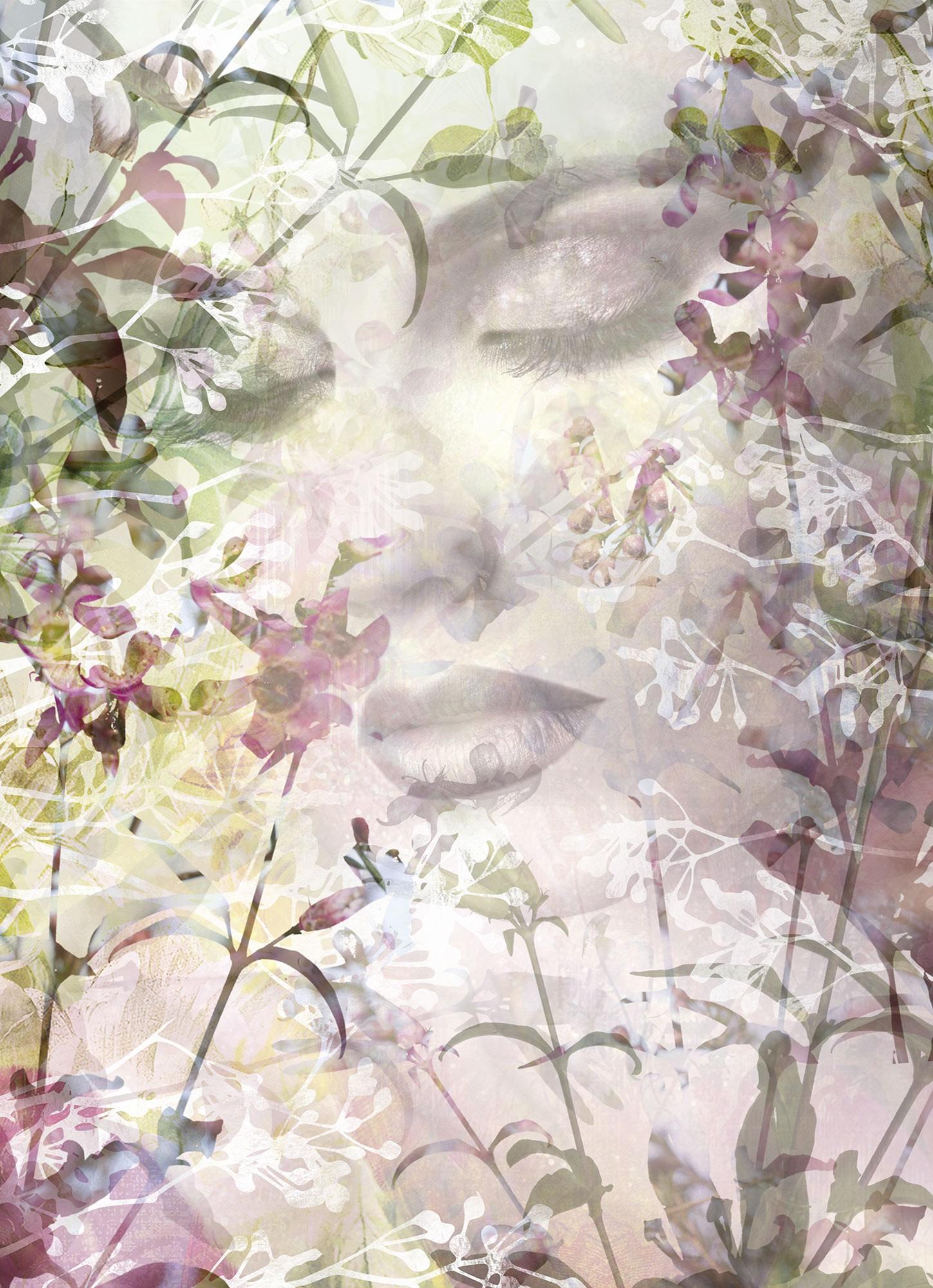 Női arc a virágok között fali poszter