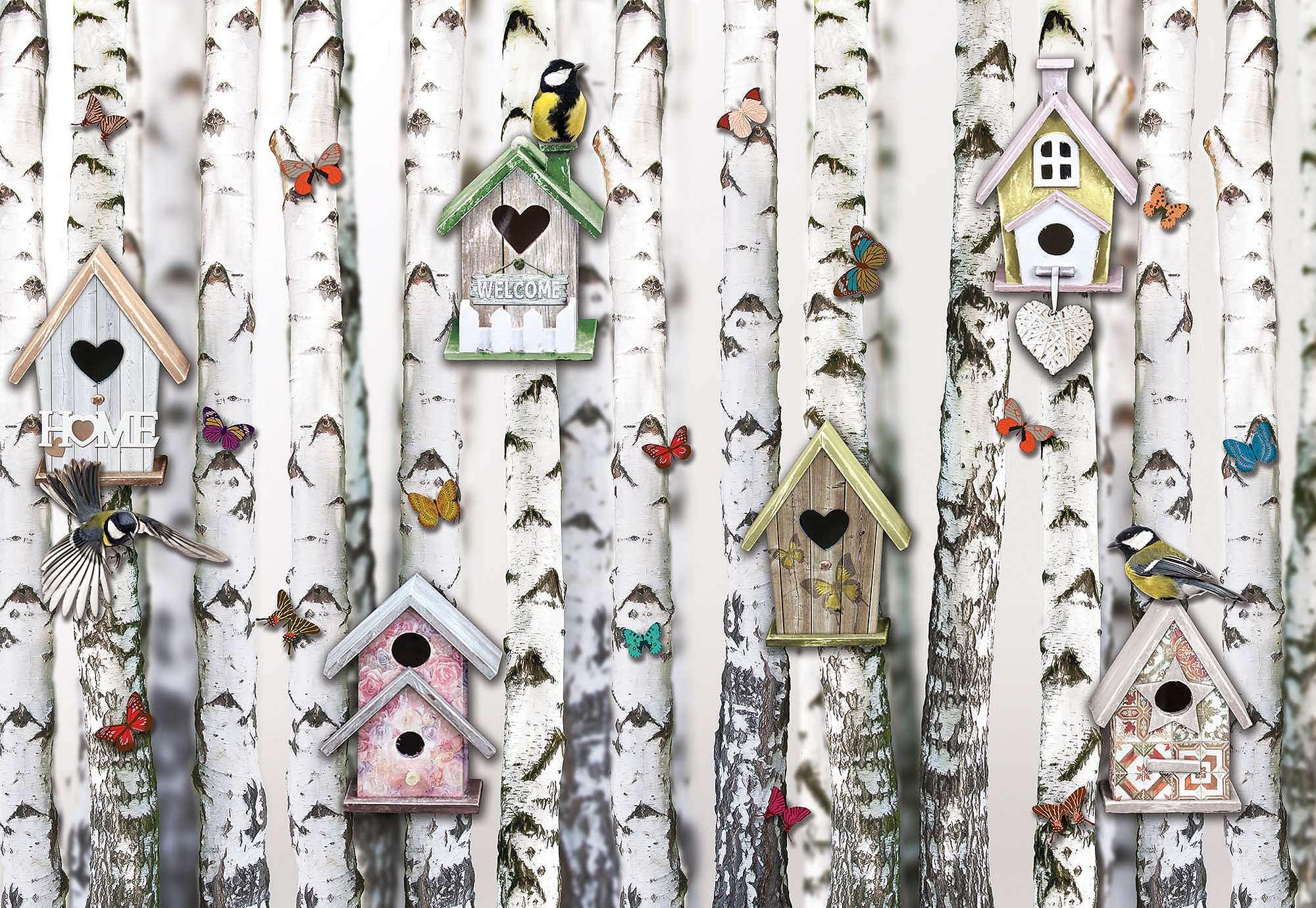 Nyírfák és madárházak vintage hangulatú fali poszter