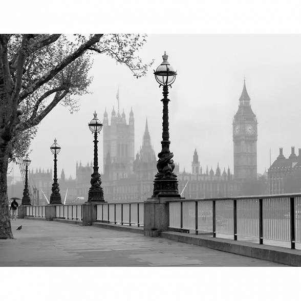 Óriás fali poszter a ködös Londoni a Westminster aptátsággal
