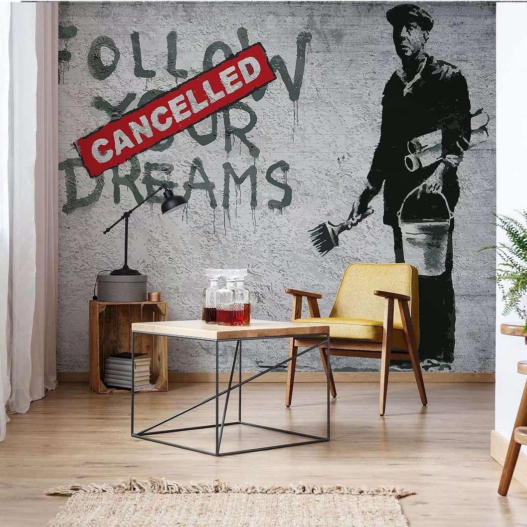 Óriás fali poszter Banksy garffiti mintával