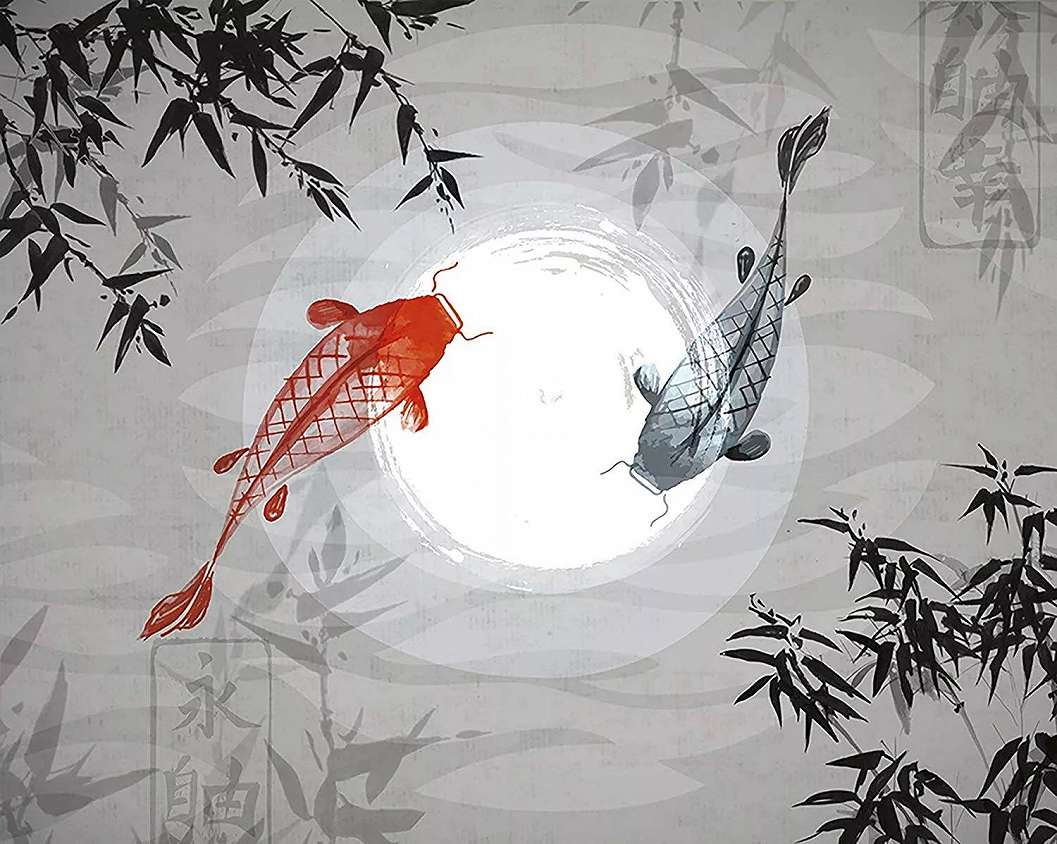 Óriás fali poszter japán koi pontyokkal