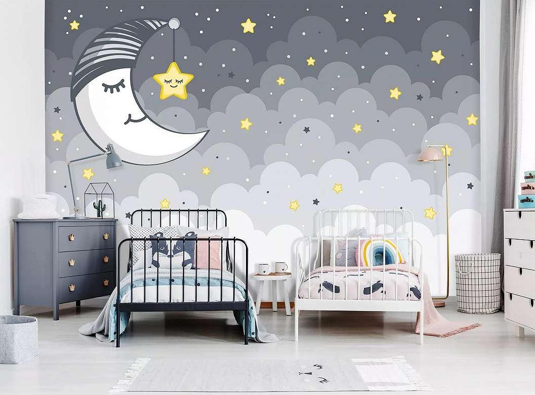 Óriás fali poszter kedves hold mintával gyerekszobába