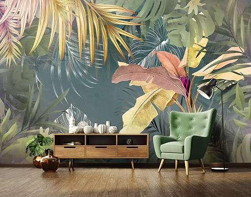 Óriás fali poszter modern trópusi hagulatú pálma levél mintával