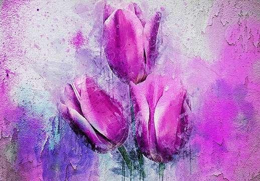 Óriás fali poszter rózsaszín tulipán mintával
