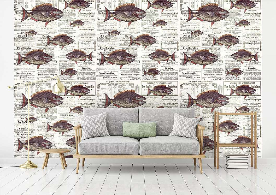 Óriás fali poszter újság és hal mintával retro hangulatban