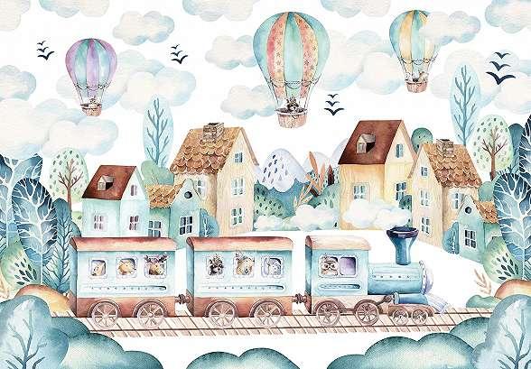 Óriás gyerekszobai fali poszter légballon mintával