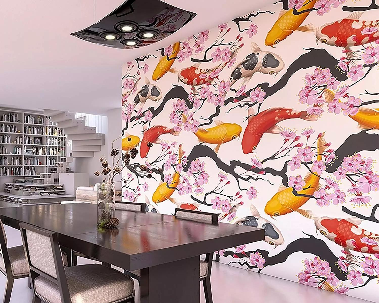Óriás vlies fali poszter színes koi pontyokkal orientális stílusban