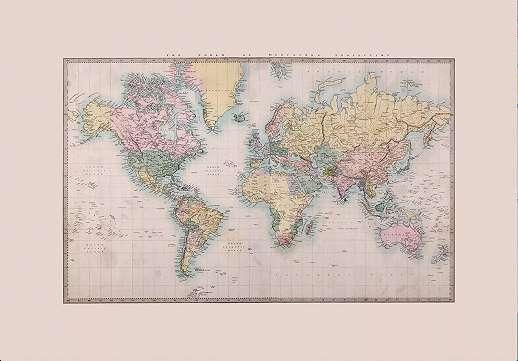 Óriás vlies fali poszter világtérkép mintával vintage stílusban