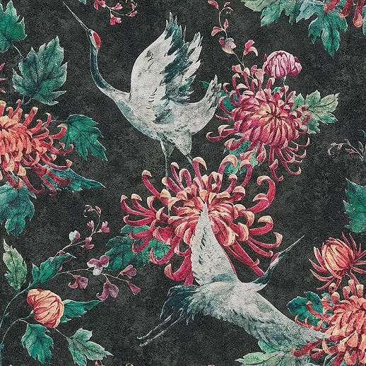 Orientális hangulatú daru madár és virágmintás vlies vinyl mosható tapéta