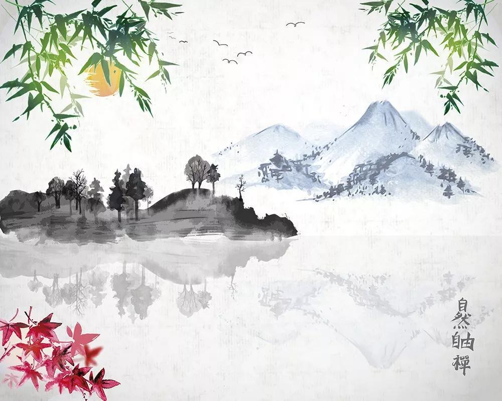 Orientális hangulatú Japán tájkép mintás vlies fali poszter