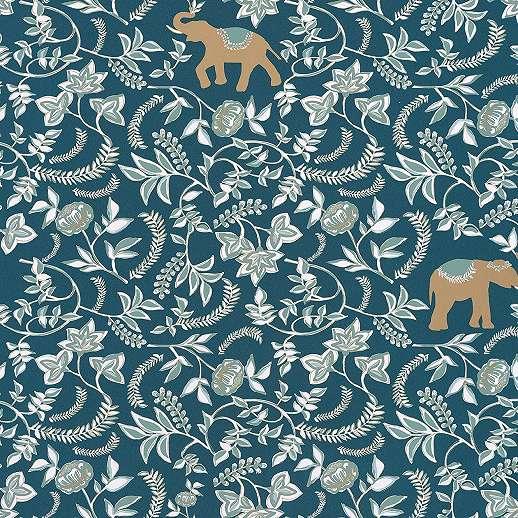 Orientális stílusú elefánt és virágmintás vlies tapéta