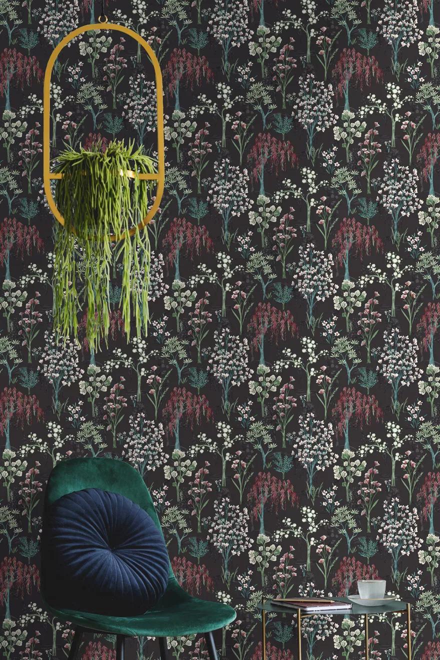 Orientális stílusú virágmintás vlies tapéta fekete szürke színvilágban