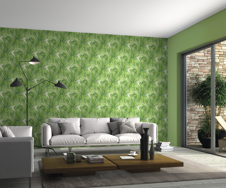 Pálmalevél mintás zöld tapéta