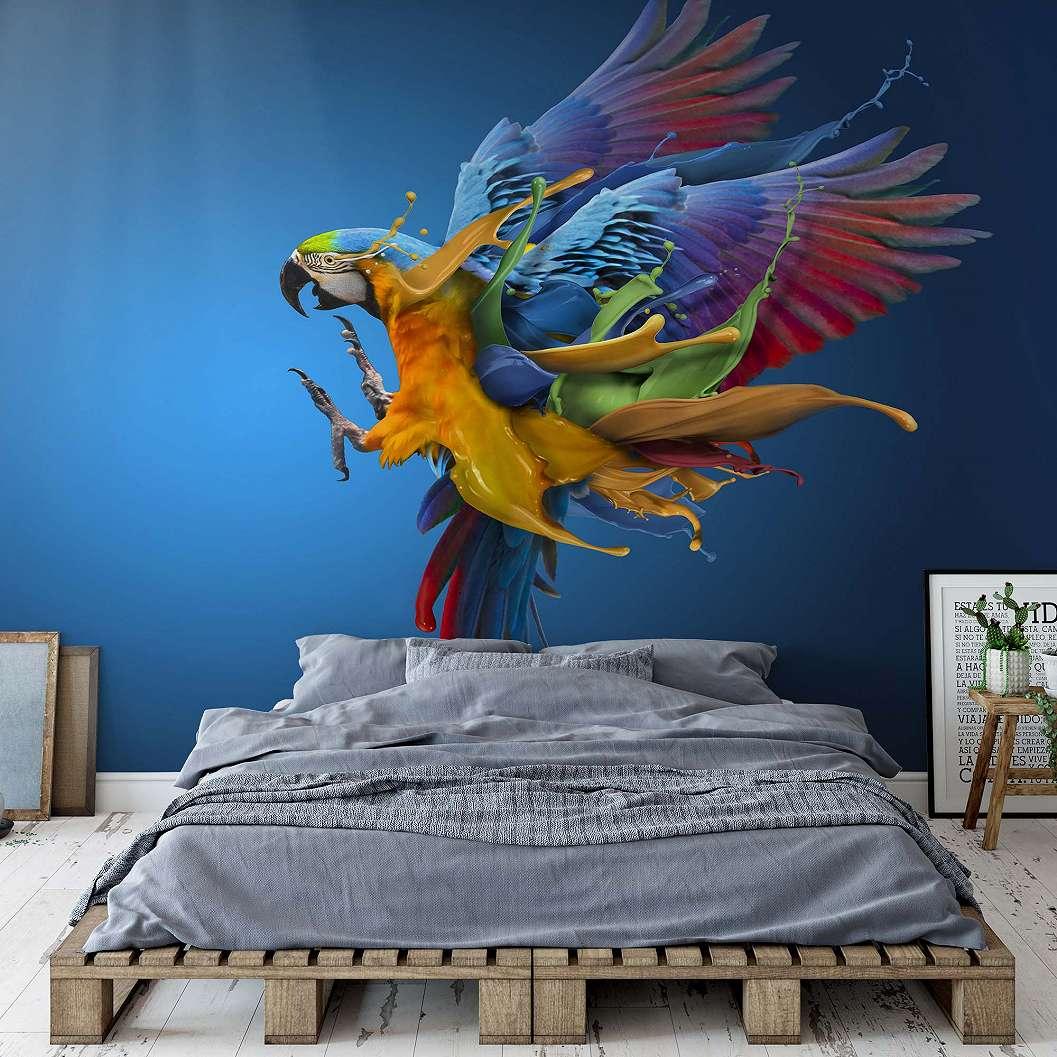 Papagály mintás fali poszter színes absztrat repülő papagály mintával