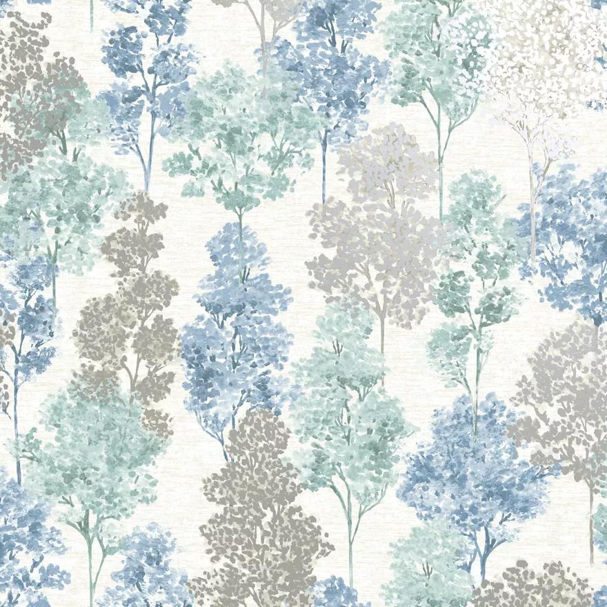 Pasztell kék fémes metál effekt hatású erdei fa mintás vlies design tapéta