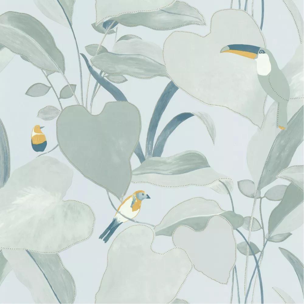 Pasztell kék trópusi madár és pálmalevél mintás vlies design tapéta