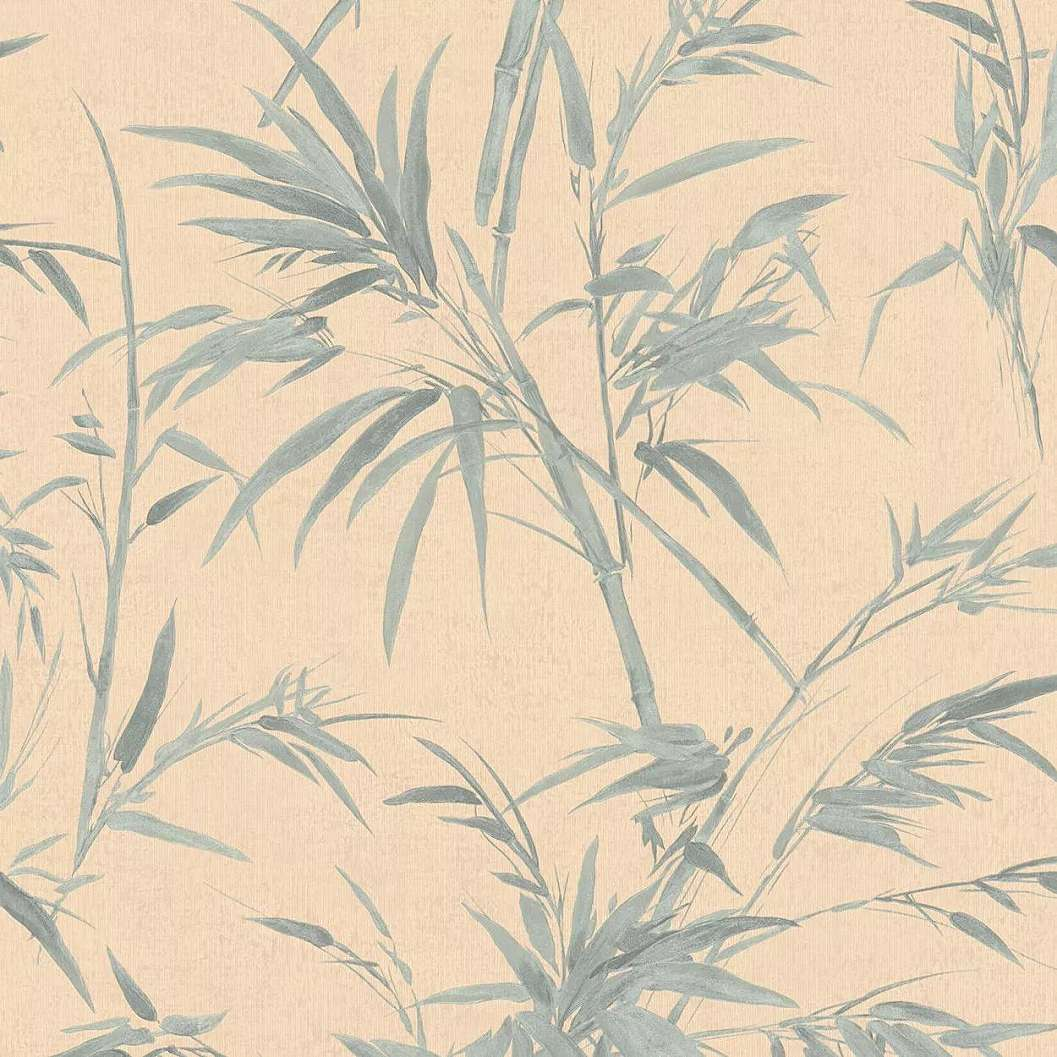Pasztell narancs zöld modern pálmalevél mintás vinyl tapéta