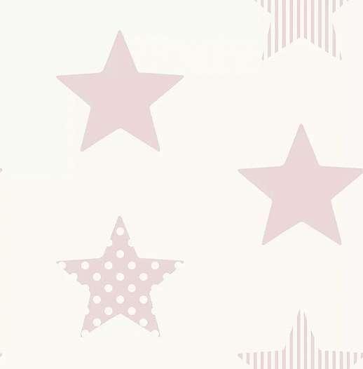 Pasztell rózsaszín csillag mintás tapéta gyerekszobába