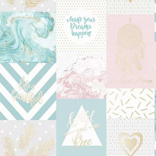 Pasztell rózsaszín kék trendi kollázs mintás vlies design tapéta