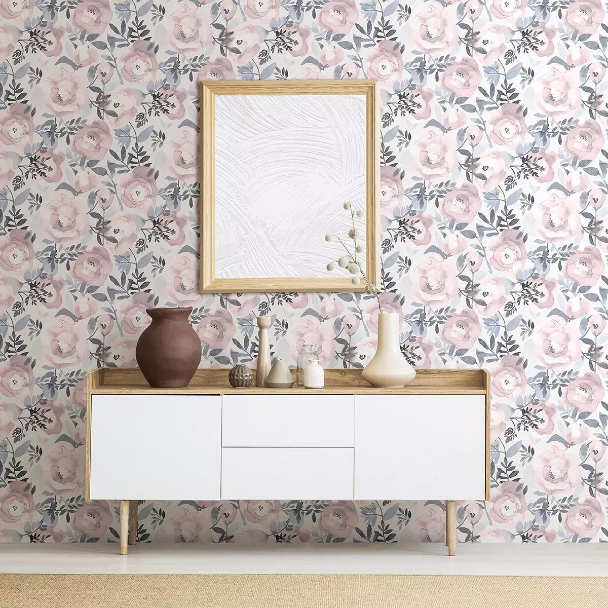 Pasztell rózsaszín-lila virágmintás vlies tapéta