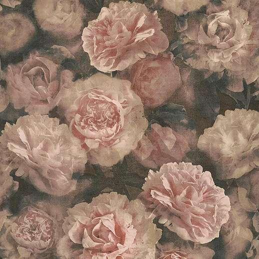 Pasztell rózsaszín rózsa mintás vlies vinyl tapéta