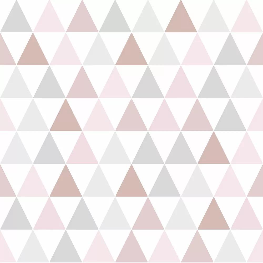 Pasztell rózsaszín, szürke, rose gold háromszög geometrikus mintás gyerektapéta