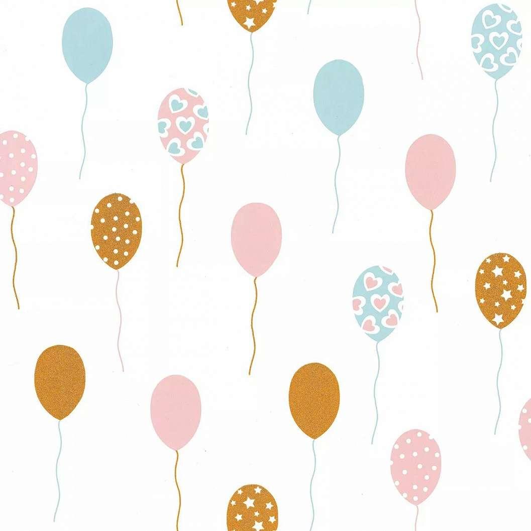 Pasztell rózsaszín, türkiz édes lufi mintás gyerektapéta