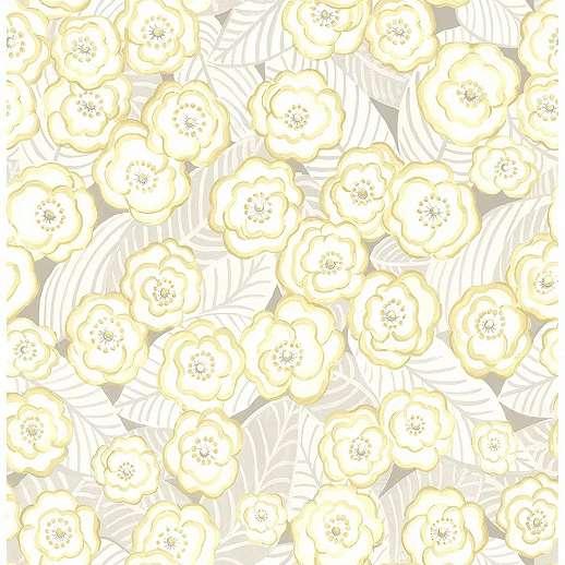 Pasztell sárga vízfestett akvarell hatású virágmintás prémium vlies tapéta