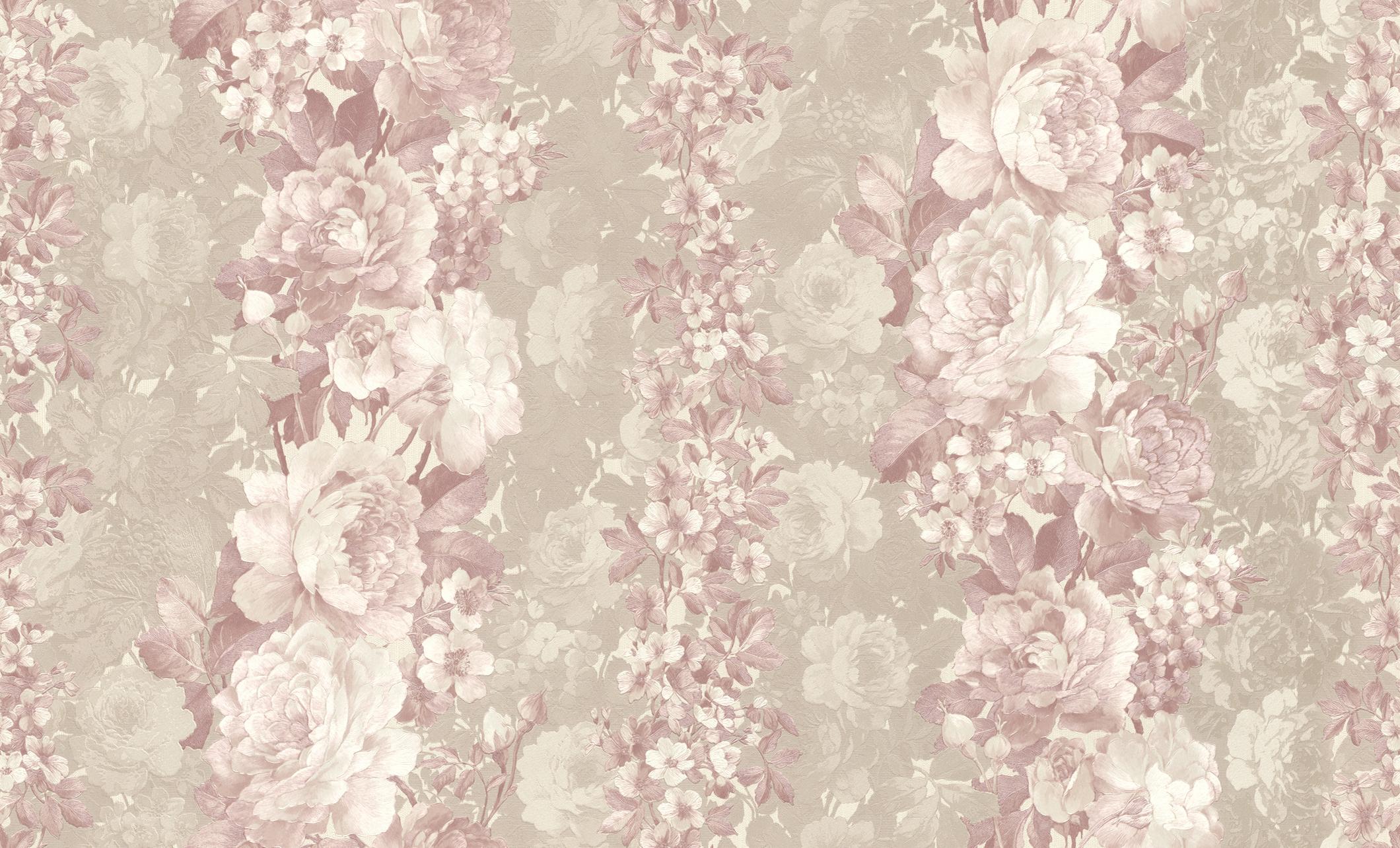 Pasztell színű virágmintás tapéta