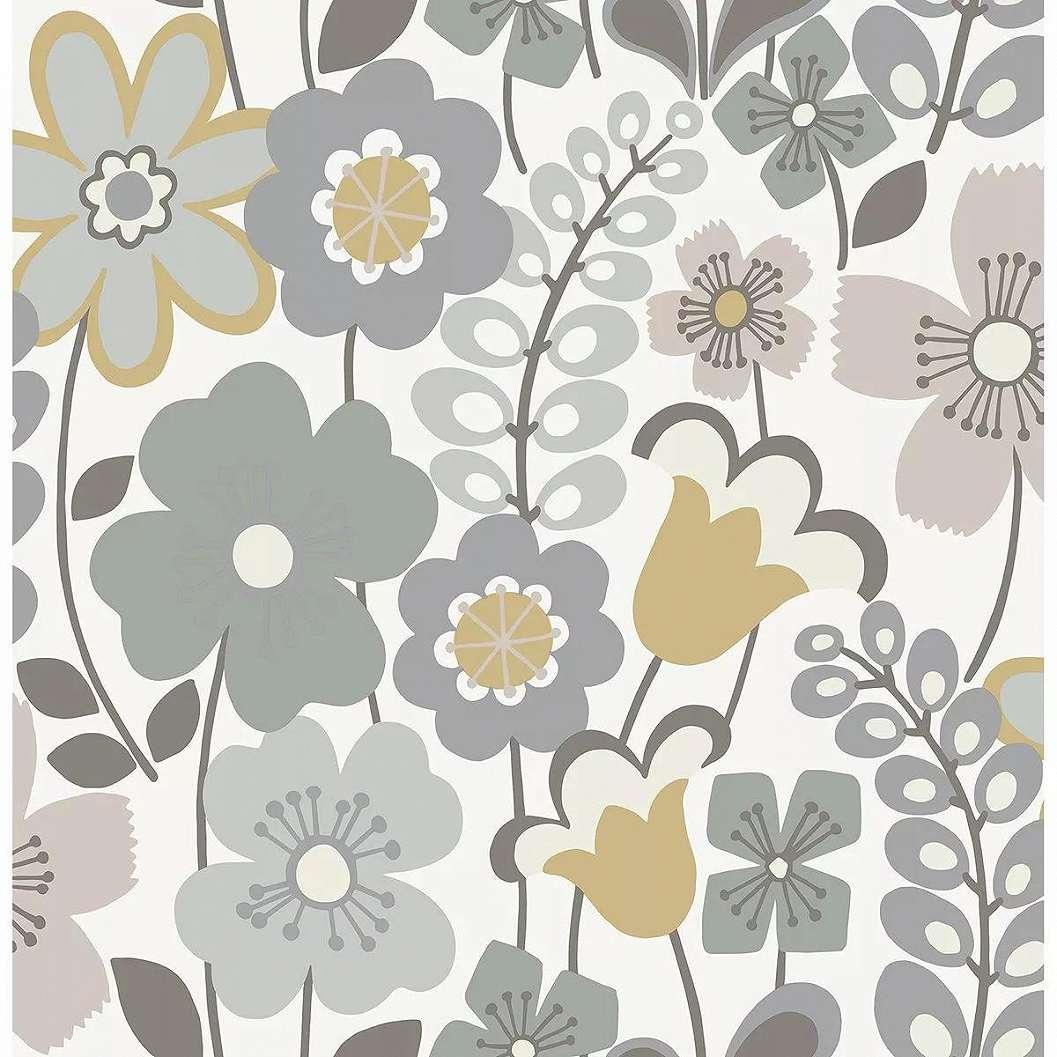 Pasztell virágmintás tapéta skandináv stílusban
