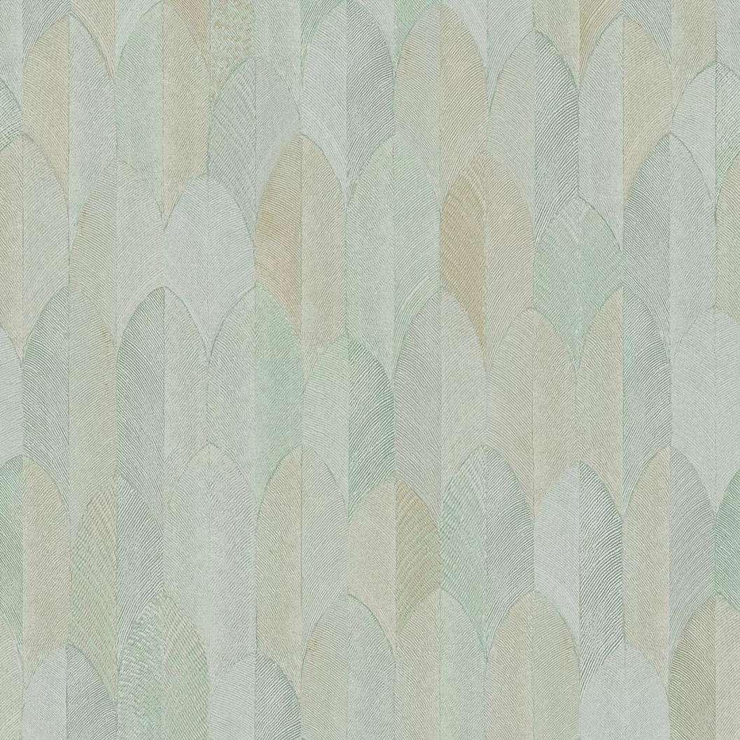 Pasztell zöld sárga keleties hangulatú geometrikus levélmintás vlies vinyl mosható tapéta