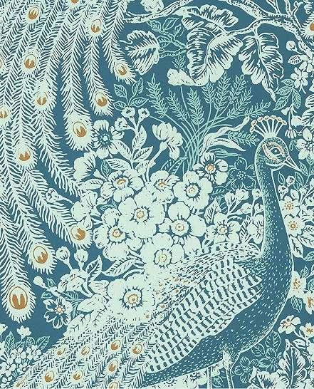 Páva mintás luxus vlies tapéta türkiz színben