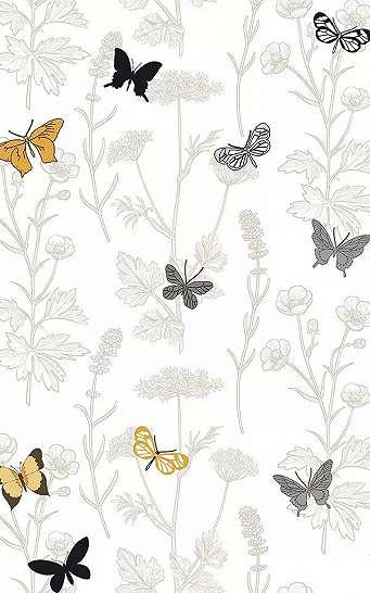 Pillangó és virágmintás vlies design tapéta