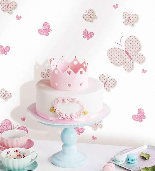 Pillangó, lepke mintás gyerek tapéta rózsaszín színvilágban