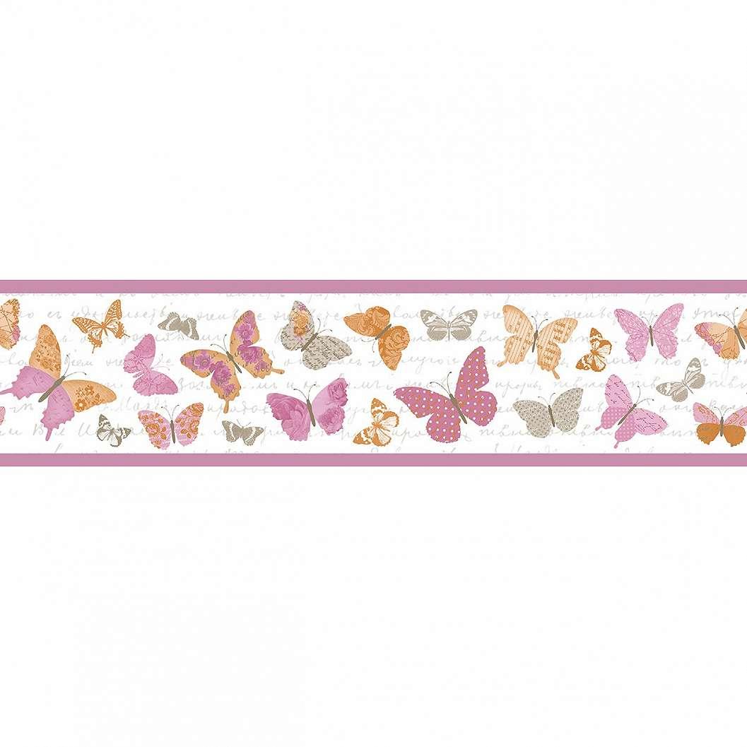 Pillangó mintás bordűr rózsaszín árnyalatokkal