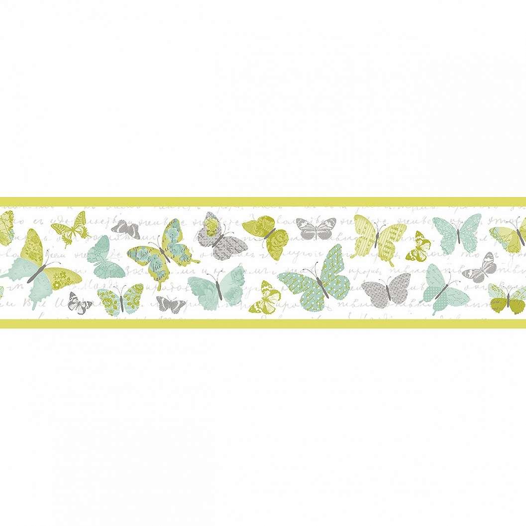 Pillangó mintás bordűr zöldes, sárgás árnyalatokkal