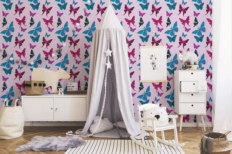 Pillangó mintás paír gyerektapéta lila, kék pillangó mintával