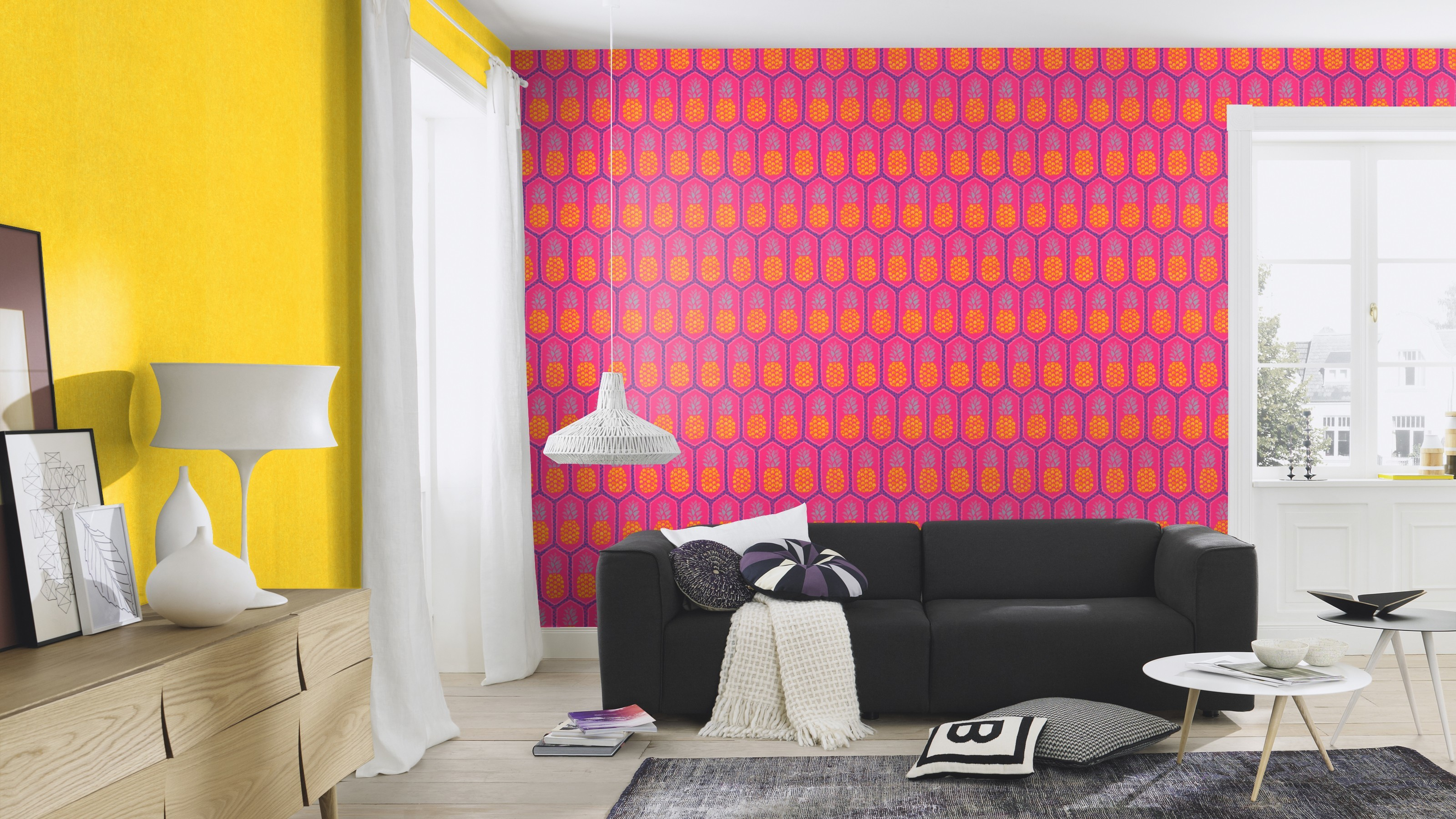 Pink ananász mintás tapéta