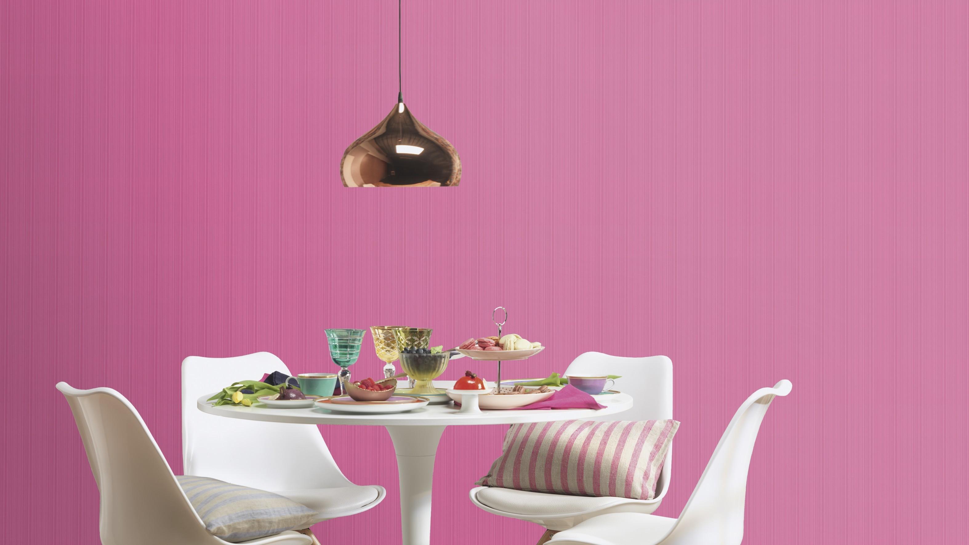 Pink egyszínű csíkos retro tapéta