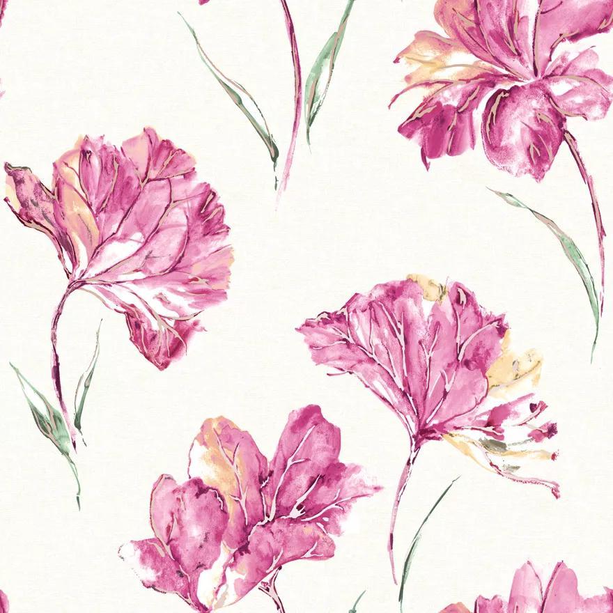 Pink vlies tapéta akvarell hatású virágmintával