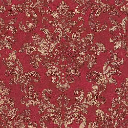 Piros barokk mintás klasszikus vlies tapéta vintage stílusban