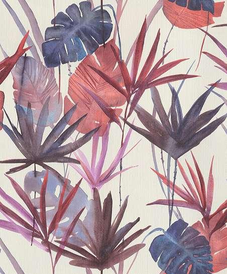Piros-kék trendi trópusi levélmintás dekor vlies tapéta