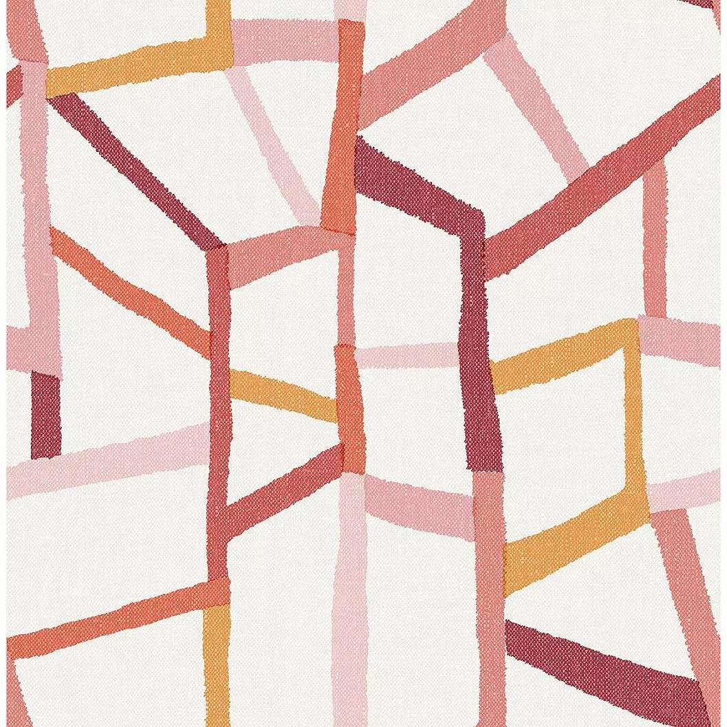 Piros rózsaszín modern geometrikus mintás skandináv hangulatú vlies prémium tapéta