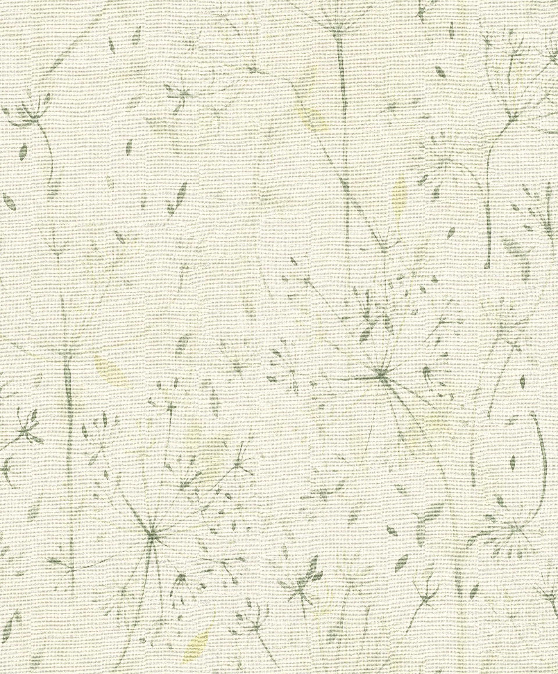 Pitypang virág mintás tapéta bézs, zöld színekkel